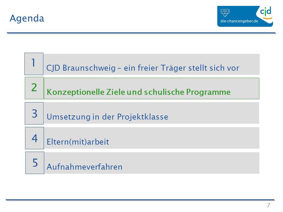 7 Agenda CJD Braunschweig – ein freier Träger stellt sich vor Konzeptionelle Ziele und schulische Programme Umsetzung in der Projektklasse Eltern(mit)