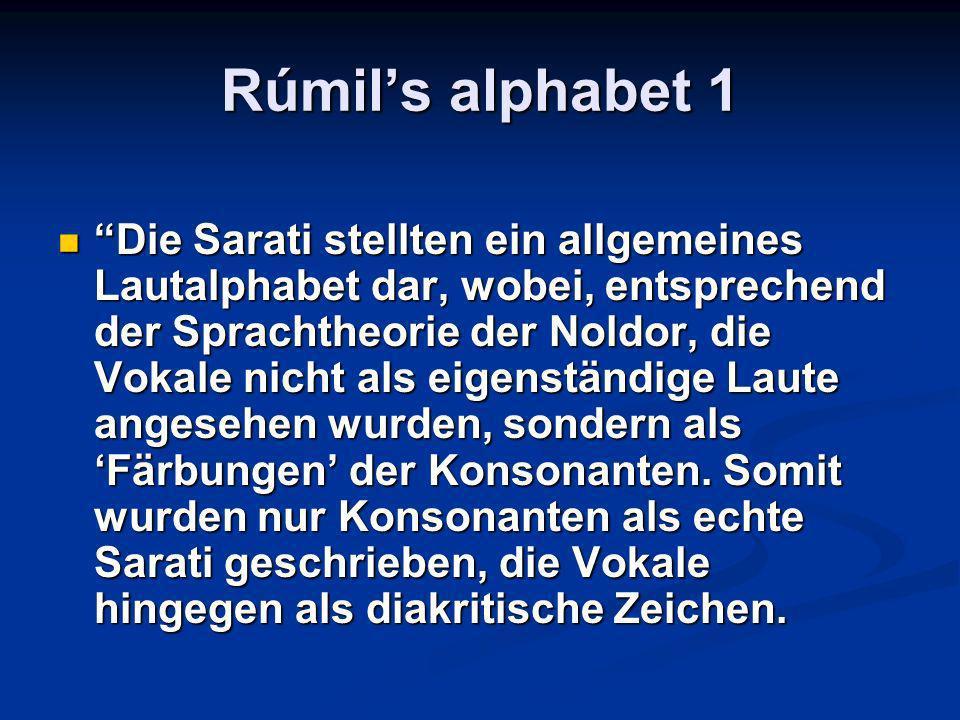 Rúmils alphabet 1 Die Sarati stellten ein allgemeines Lautalphabet dar, wobei, entsprechend der Sprachtheorie der Noldor, die Vokale nicht als eigenständige Laute angesehen wurden, sondern als Färbungen der Konsonanten.