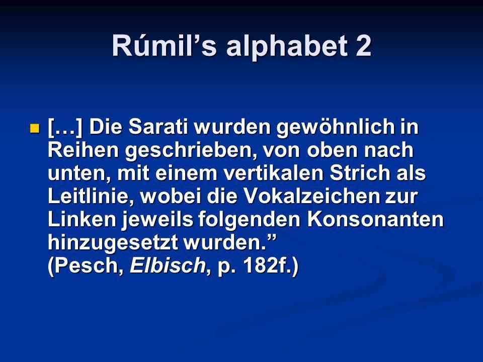 Rúmils alphabet 2 […] Die Sarati wurden gewöhnlich in Reihen geschrieben, von oben nach unten, mit einem vertikalen Strich als Leitlinie, wobei die Vokalzeichen zur Linken jeweils folgenden Konsonanten hinzugesetzt wurden.