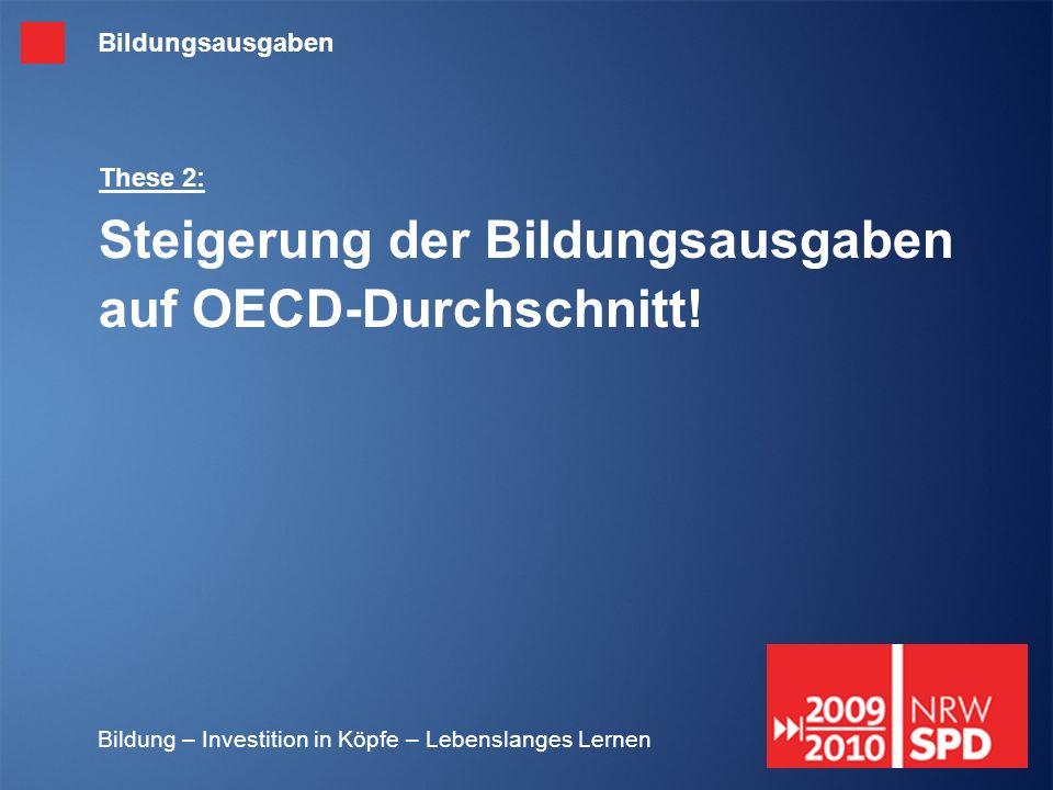 Bildung – Investition in Köpfe – Lebenslanges Lernen These 2: Steigerung der Bildungsausgaben auf OECD-Durchschnitt! Bildungsausgaben