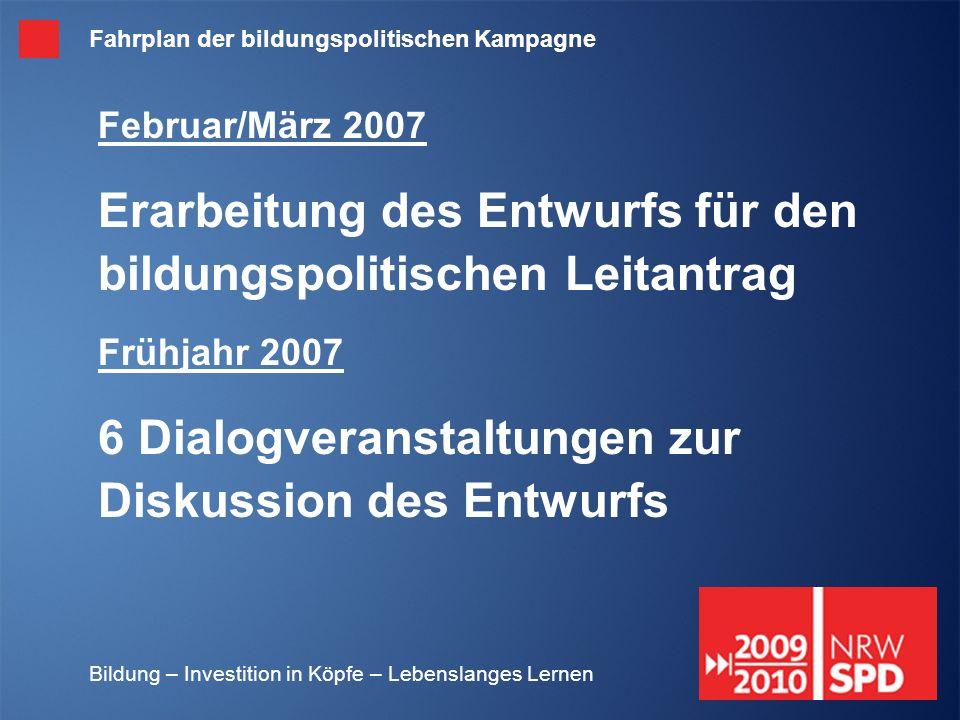 Bildung – Investition in Köpfe – Lebenslanges Lernen Februar/März 2007 Erarbeitung des Entwurfs für den bildungspolitischen Leitantrag Frühjahr 2007 6