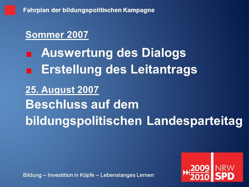 Bildung – Investition in Köpfe – Lebenslanges Lernen Sommer 2007 Auswertung des Dialogs Erstellung des Leitantrags 25. August 2007 Beschluss auf dem b