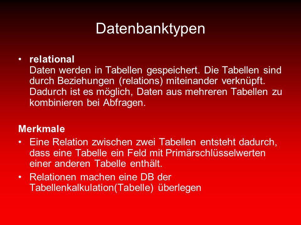 Datenbanktypen relational Daten werden in Tabellen gespeichert. Die Tabellen sind durch Beziehungen (relations) miteinander verknüpft. Dadurch ist es
