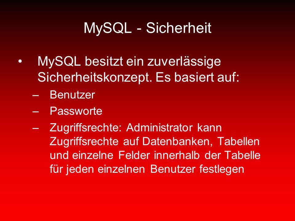 MySQL - Sicherheit MySQL besitzt ein zuverlässige Sicherheitskonzept. Es basiert auf: –Benutzer –Passworte –Zugriffsrechte: Administrator kann Zugriff
