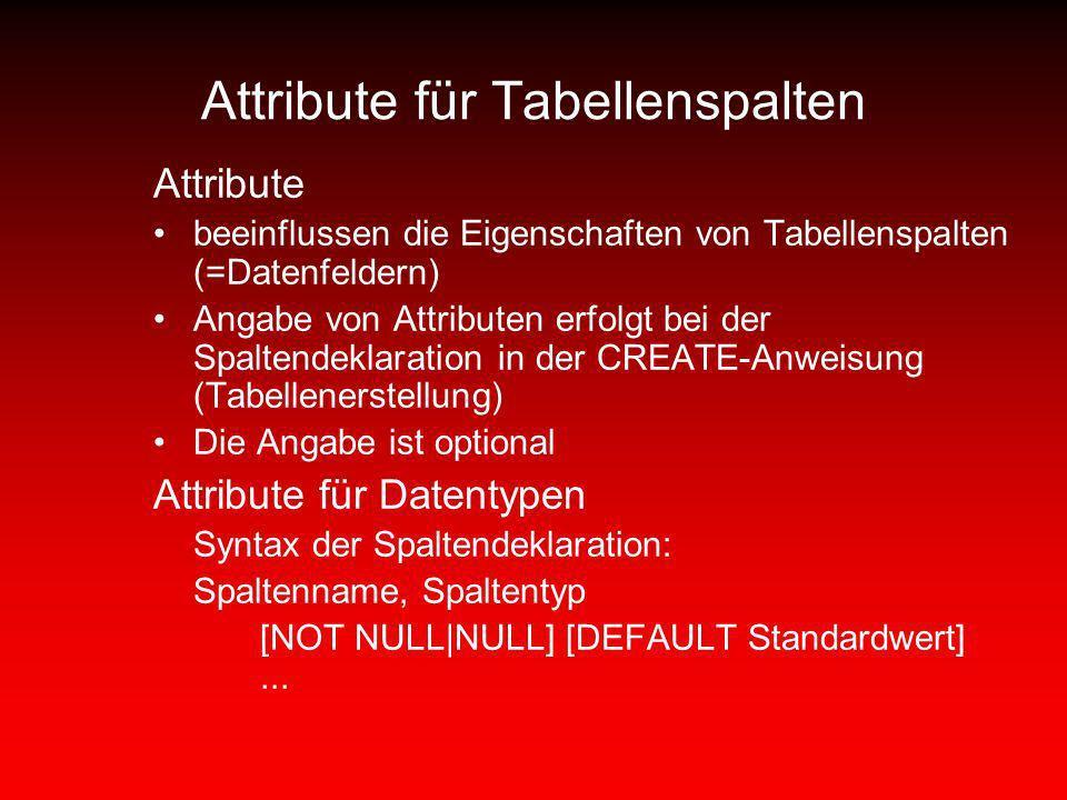 Attribute für Tabellenspalten Attribute beeinflussen die Eigenschaften von Tabellenspalten (=Datenfeldern) Angabe von Attributen erfolgt bei der Spalt