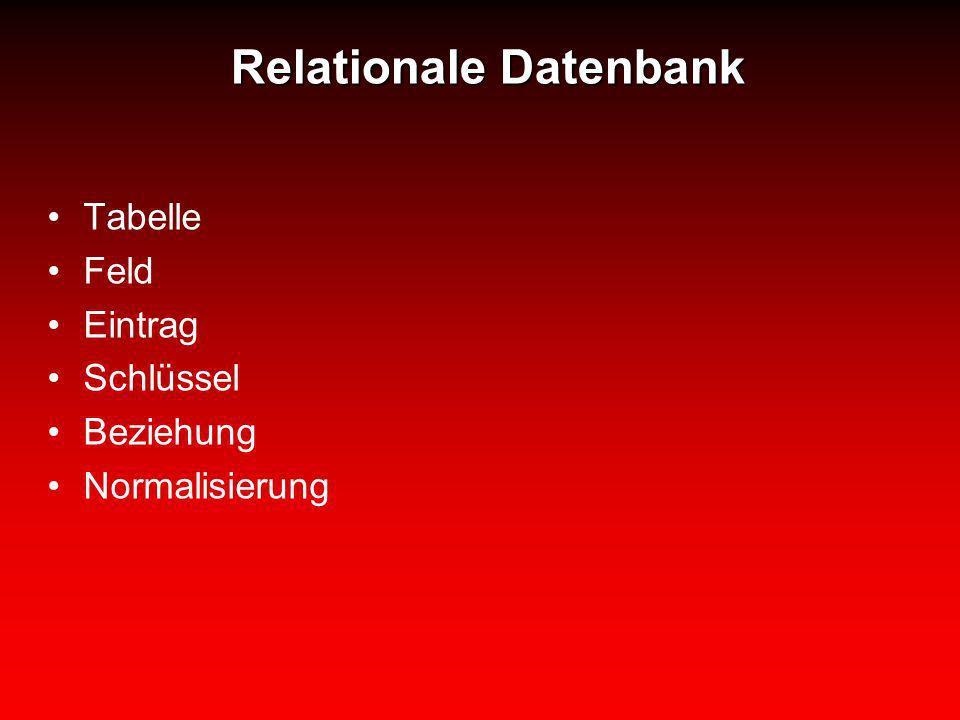 Relationale Datenbank Tabelle Feld Eintrag Schlüssel Beziehung Normalisierung