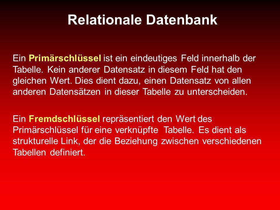 Relationale Datenbank Ein Primärschlüssel ist ein eindeutiges Feld innerhalb der Tabelle. Kein anderer Datensatz in diesem Feld hat den gleichen Wert.