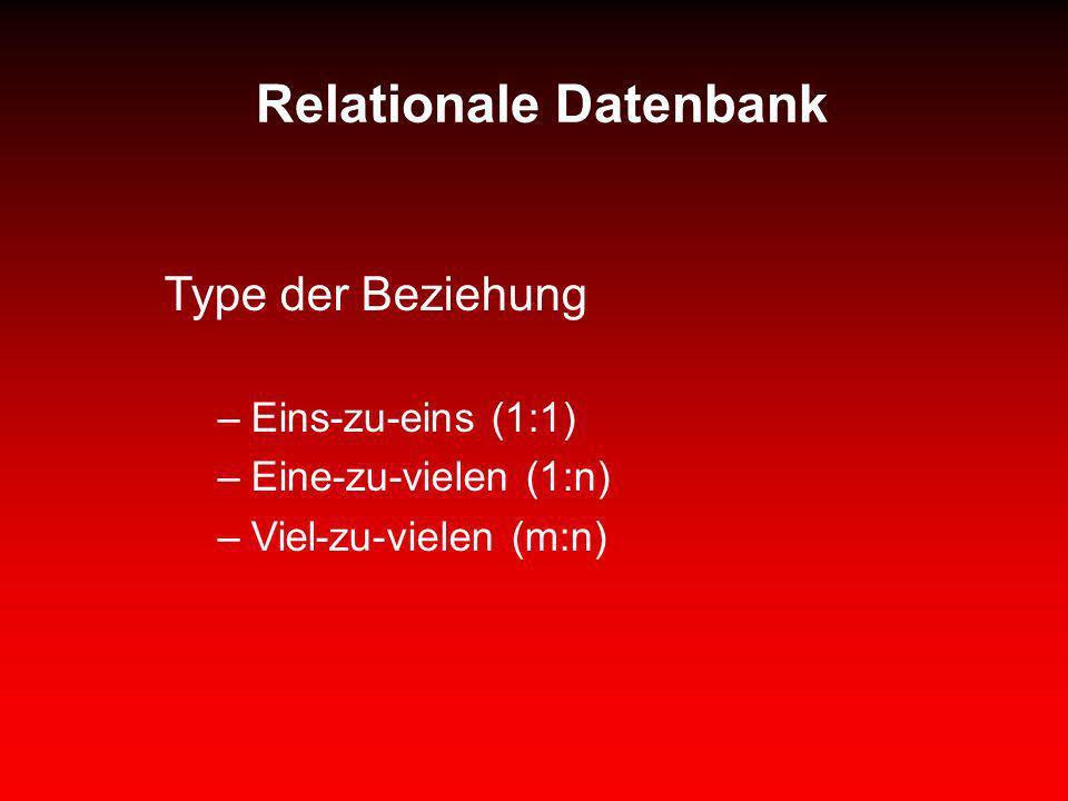 Relationale Datenbank Type der Beziehung –Eins-zu-eins (1:1) –Eine-zu-vielen (1:n) –Viel-zu-vielen (m:n)