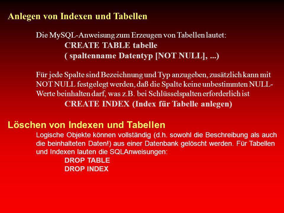 Anlegen von Indexen und Tabellen Die MySQL-Anweisung zum Erzeugen von Tabellen lautet: CREATE TABLE tabelle ( spaltenname Datentyp [NOT NULL],...) Für