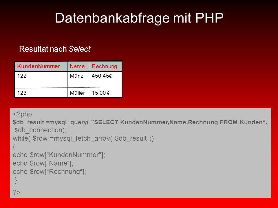 15,00 Müller123 450,45 Münz122 RechnungNameKundenNummer Resultat nach Select <?php $db_result =mysql_query(