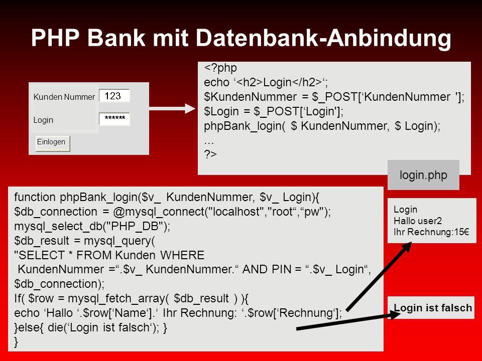 PHP Bank mit Datenbank-Anbindung <?php echo Login ; $KundenNummer = $_POST[KundenNummer ']; $Login = $_POST[Login']; phpBank_login( $ KundenNummer, $