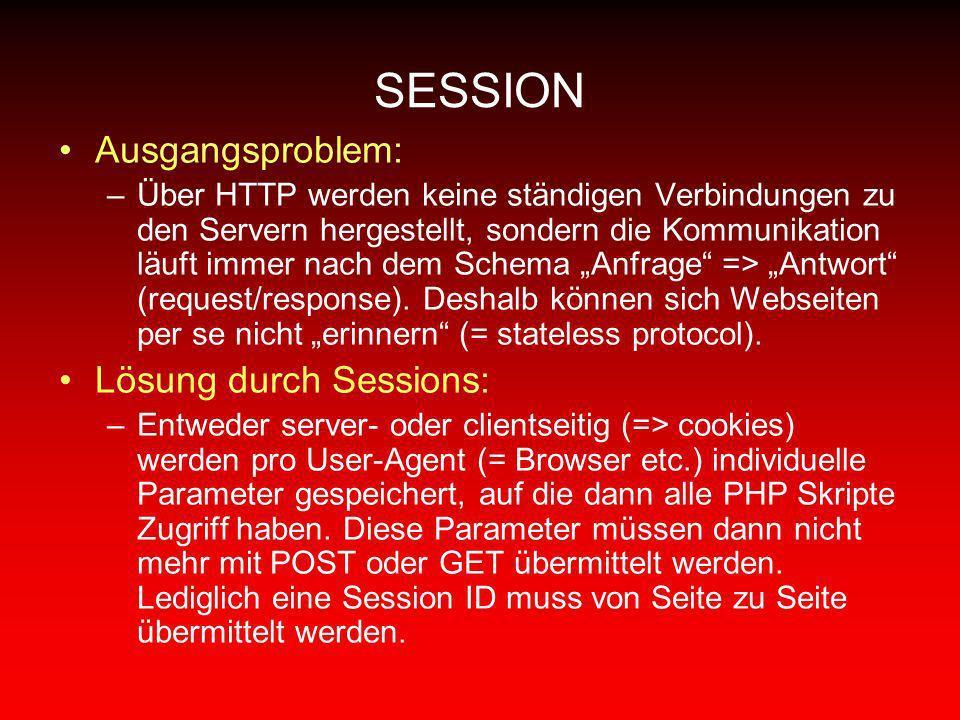 SESSION Ausgangsproblem: –Über HTTP werden keine ständigen Verbindungen zu den Servern hergestellt, sondern die Kommunikation läuft immer nach dem Sch