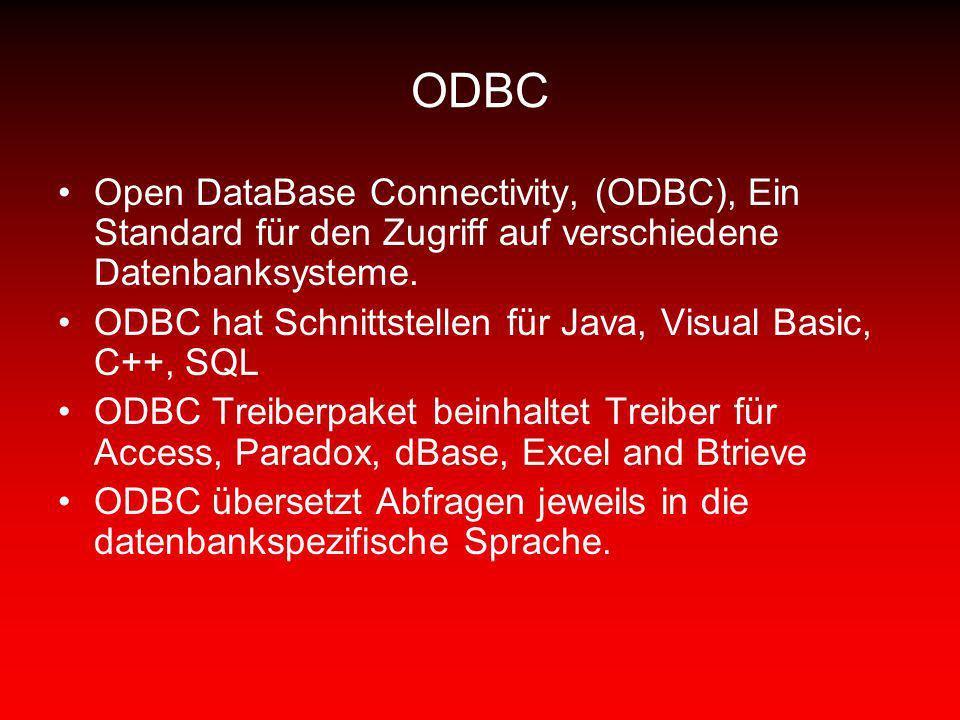 ODBC Open DataBase Connectivity, (ODBC), Ein Standard für den Zugriff auf verschiedene Datenbanksysteme. ODBC hat Schnittstellen für Java, Visual Basi