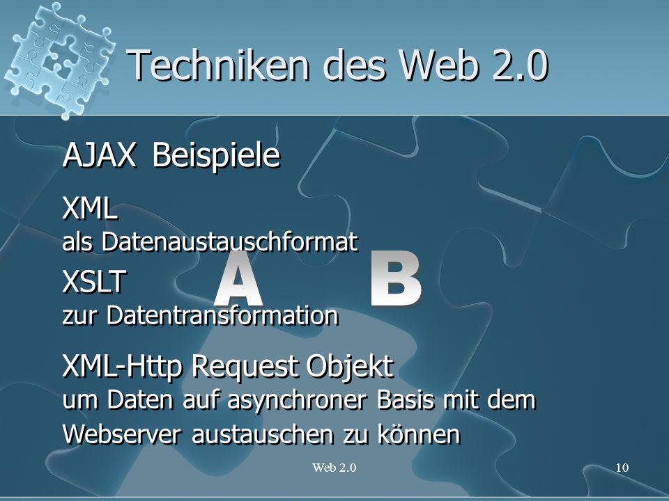 Web 2.010 Techniken des Web 2.0 AJAX XML als Datenaustauschformat XML als Datenaustauschformat XSLT zur Datentransformation XSLT zur Datentransformati