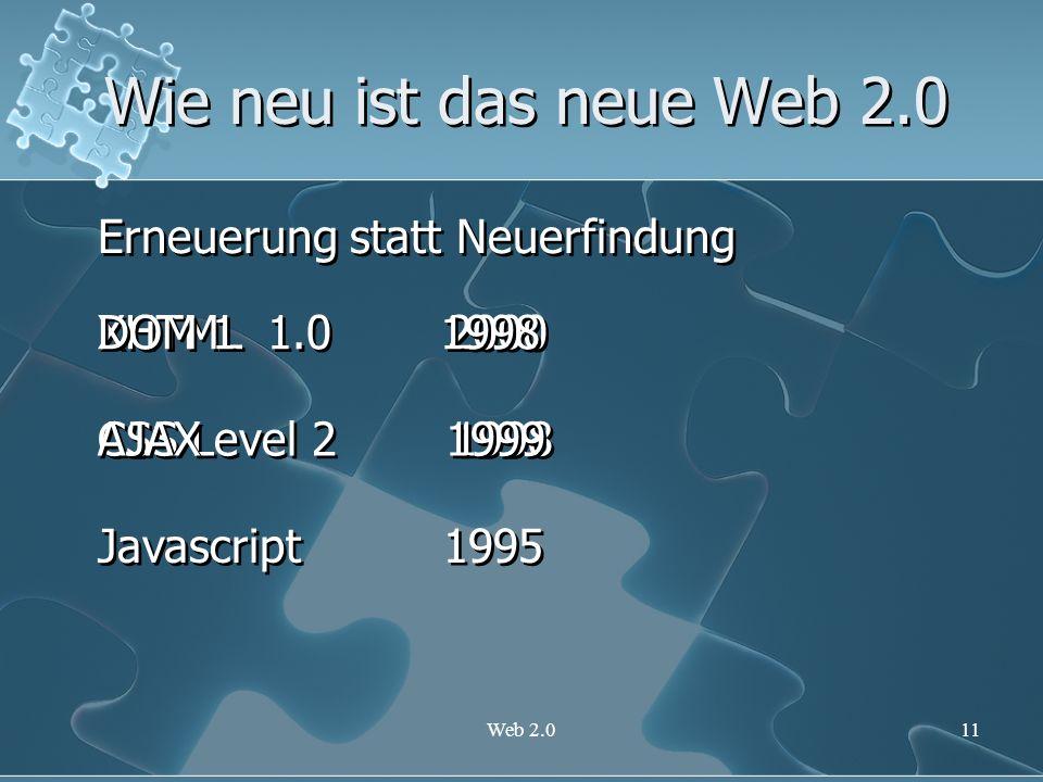 Web 2.011 Wie neu ist das neue Web 2.0 Erneuerung statt Neuerfindung XHTML 1.0 2000 CSS Level 2 1998 Javascript 1995 DOM 1 1998 AJAX 1999