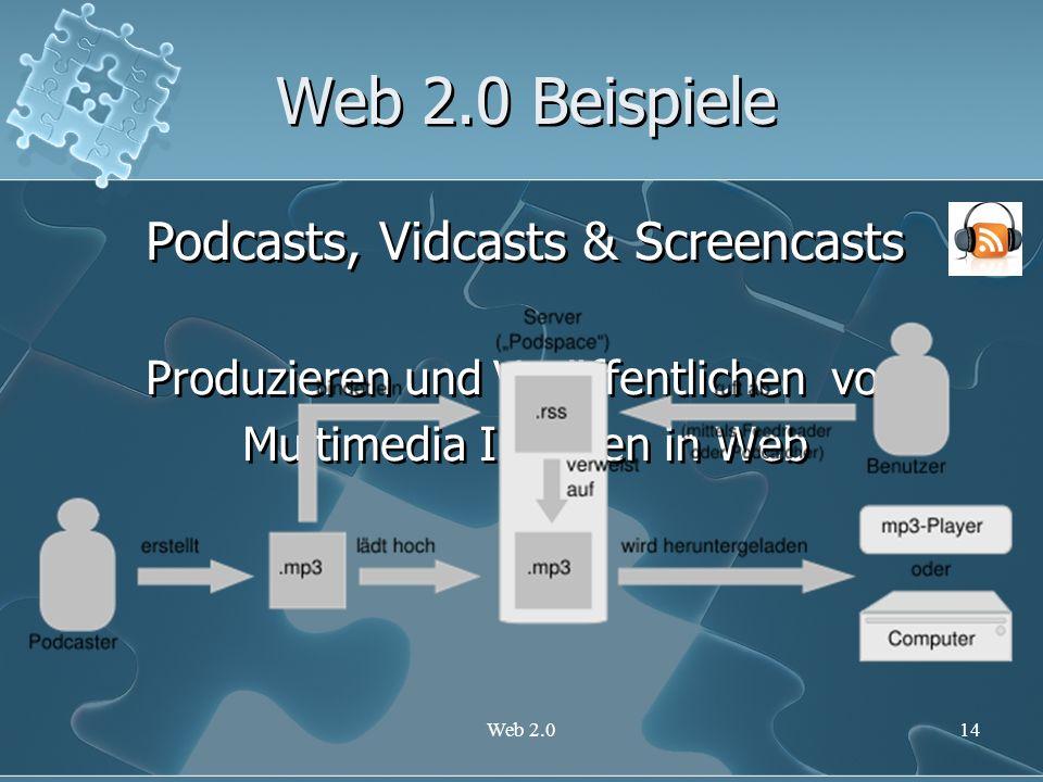 Web 2.014 Web 2.0 Beispiele Podcasts, Vidcasts & Screencasts Produzieren und Veröffentlichen von Multimedia Inhalten in Web Podcasts, Vidcasts & Scree