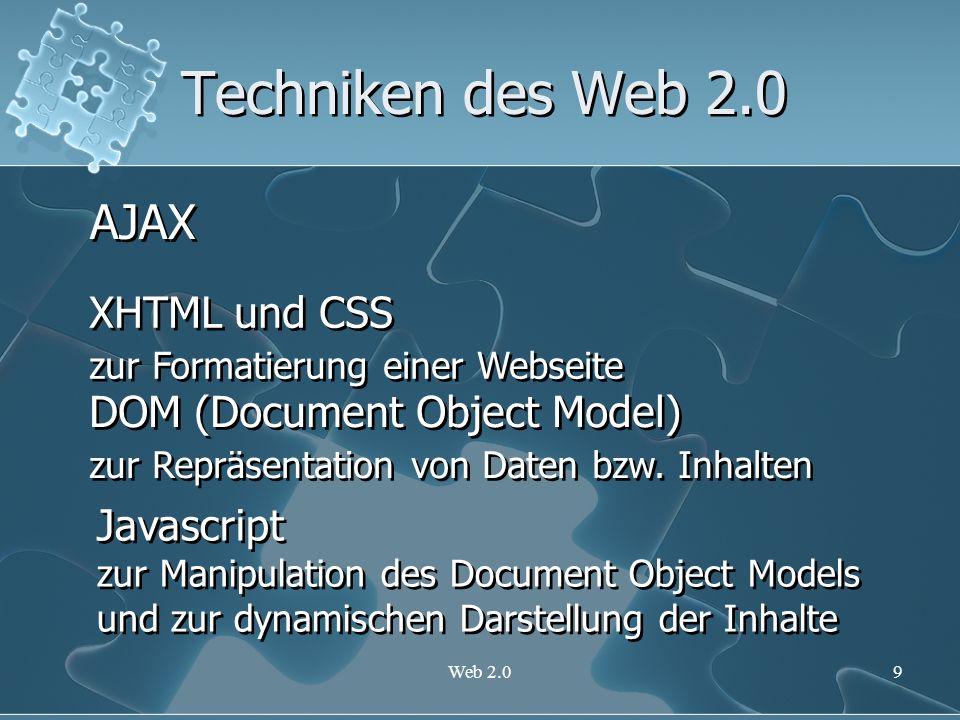 Web 2.010 Techniken des Web 2.0 AJAX XML als Datenaustauschformat XML als Datenaustauschformat XSLT zur Datentransformation XSLT zur Datentransformation XML-Http Request Objekt um Daten auf asynchroner Basis mit dem Webserver austauschen zu können XML-Http Request Objekt um Daten auf asynchroner Basis mit dem Webserver austauschen zu können Beispiele