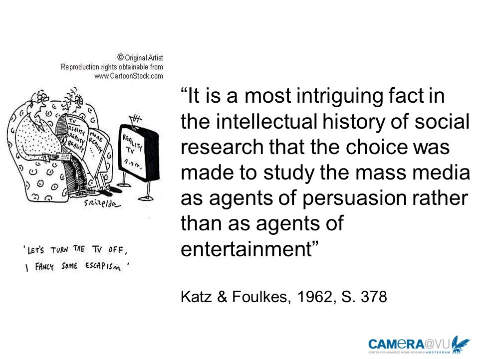 Vom Eskapismus zur Unterhaltungsforschung Eskapismus beschreibt den angeblichen Wunsch, aus sozialen Welten zu fliehen.