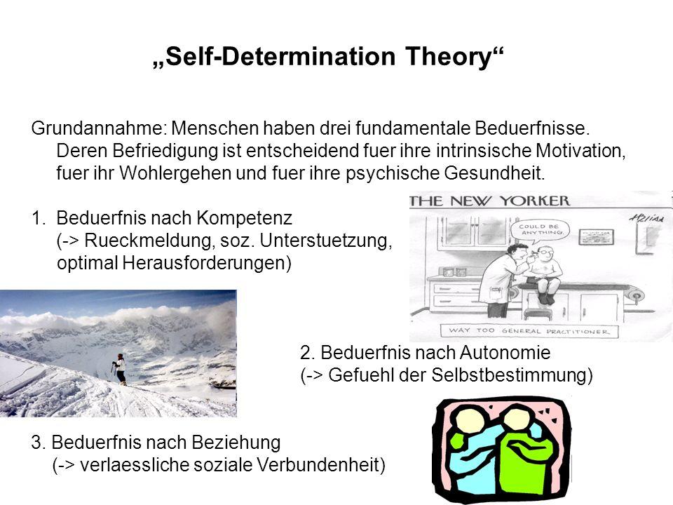 Self-Determination Theory Grundannahme: Menschen haben drei fundamentale Beduerfnisse. Deren Befriedigung ist entscheidend fuer ihre intrinsische Moti