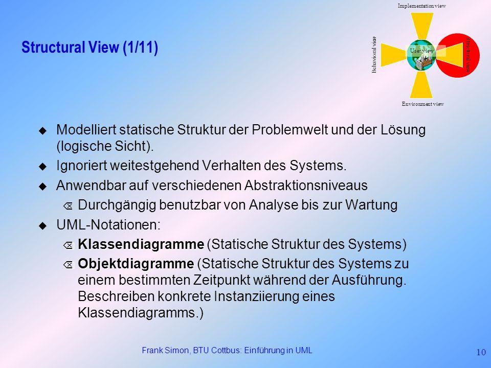 Frank Simon, BTU Cottbus: Einführung in UML 10 Structural View (1/11) Modelliert statische Struktur der Problemwelt und der Lösung (logische Sicht). I