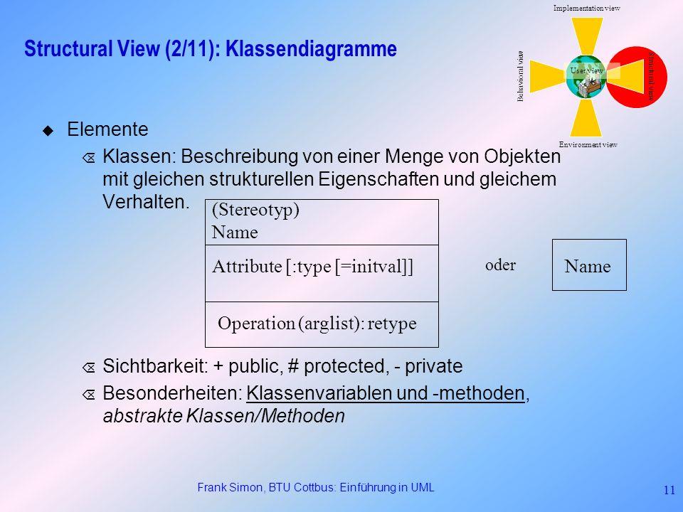 Frank Simon, BTU Cottbus: Einführung in UML 11 Structural View (2/11): Klassendiagramme Elemente Õ Klassen: Beschreibung von einer Menge von Objekten