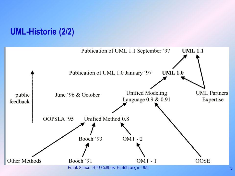 Frank Simon, BTU Cottbus: Einführung in UML 13 Structural View (4/11): Klassendiagramme Beziehungen: Õ Assoziationen (binär) Beschreiben Verbindungen zwischen Klassen.