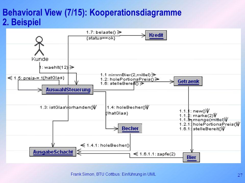Frank Simon, BTU Cottbus: Einführung in UML 27 Behavioral View (7/15): Kooperationsdiagramme 2. Beispiel