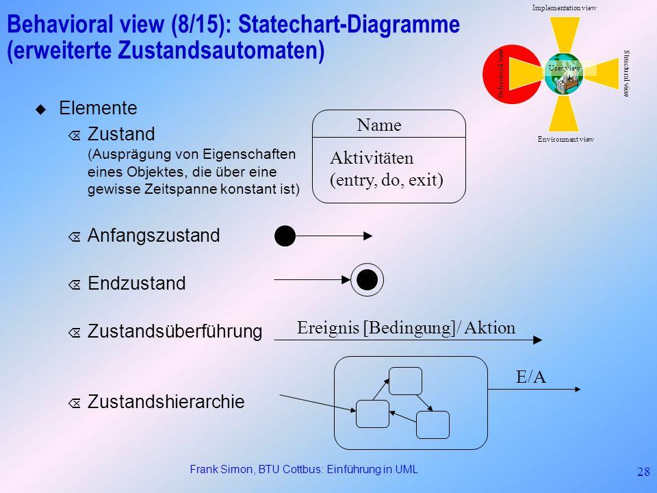 Frank Simon, BTU Cottbus: Einführung in UML 28 Behavioral view (8/15): Statechart-Diagramme (erweiterte Zustandsautomaten) Elemente Õ Zustand (Auspräg