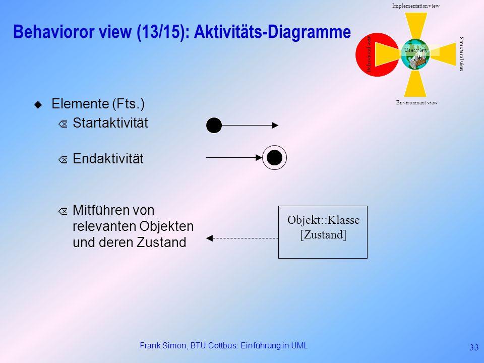 Frank Simon, BTU Cottbus: Einführung in UML 33 Elemente (Fts.) Õ Startaktivität Õ Endaktivität Õ Mitführen von relevanten Objekten und deren Zustand B