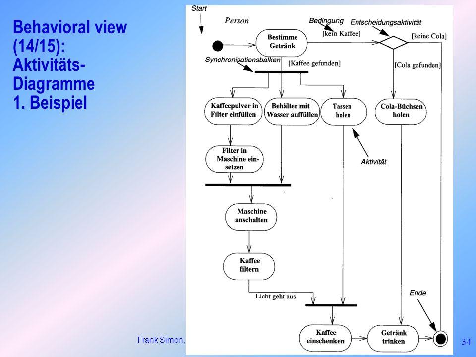 Frank Simon, BTU Cottbus: Einführung in UML 34 Behavioral view (14/15): Aktivitäts- Diagramme 1. Beispiel