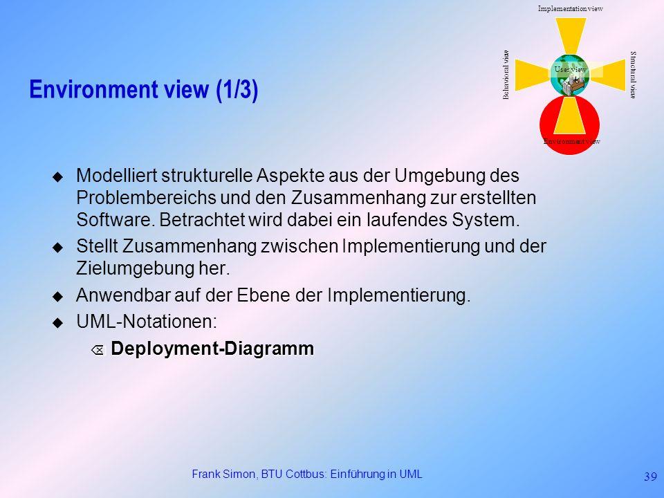 Frank Simon, BTU Cottbus: Einführung in UML 39 Environment view (1/3) Modelliert strukturelle Aspekte aus der Umgebung des Problembereichs und den Zus