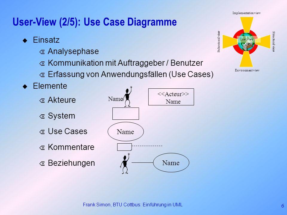 Frank Simon, BTU Cottbus: Einführung in UML 7 User-View (3/5): Use Case Diagramme Beziehungen (Fts): Õ >: Ein Anwendungsfall D benutzt (uses) einen Anwendungsfall B, wenn er dessen Verhalten beinhaltet.