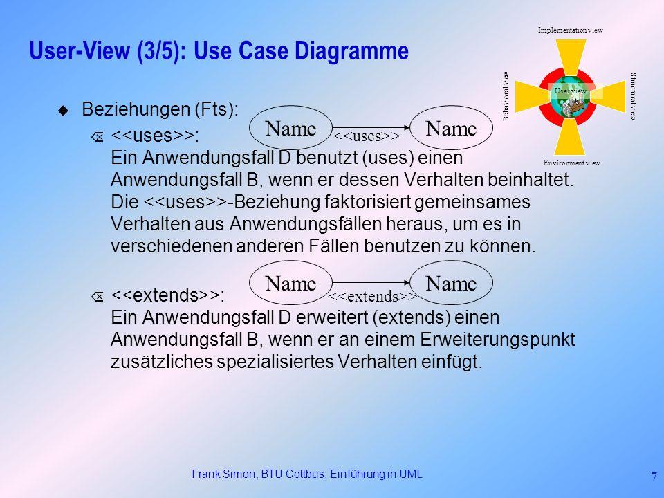 Frank Simon, BTU Cottbus: Einführung in UML 18 Structural View (9/11): Objektdiagramme Variante des Klassendiagramms Zeigt alle in Beziehung stehenden Instanzen Snapshot eines (Teil-) Systems Können verwendet werden, um spezielle Objektkonfigurationen zu untersuchen.