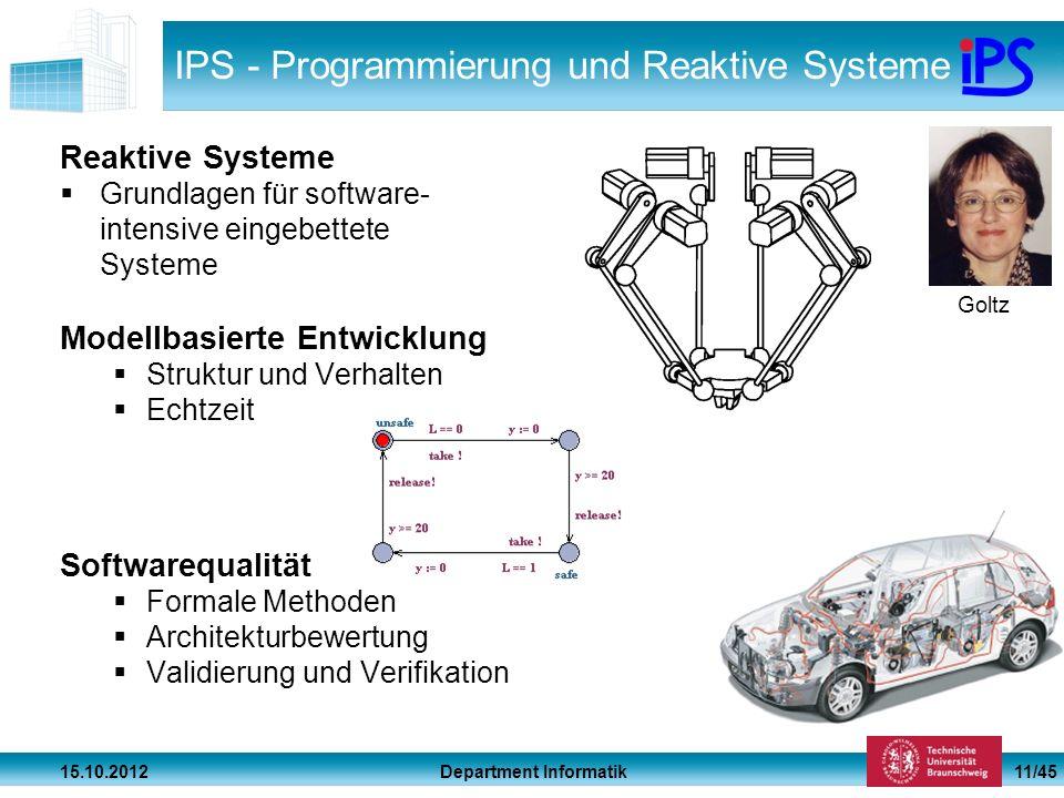 Department Informatik 15.10.2012 11/45 IPS - Programmierung und Reaktive Systeme Reaktive Systeme Grundlagen für software- intensive eingebettete Syst