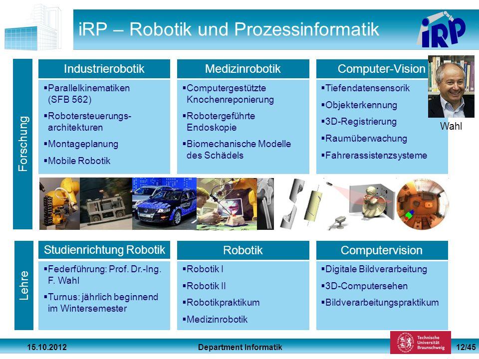 Department Informatik 15.10.2012 12/45 iRP – Robotik und Prozessinformatik Parallelkinematiken (SFB 562) Robotersteuerungs- architekturen Montageplanu