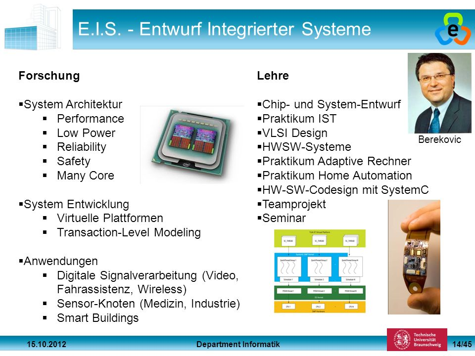 Department Informatik 15.10.2012 14/45 E.I.S. - Entwurf Integrierter Systeme Forschung System Architektur Performance Low Power Reliability Safety Man