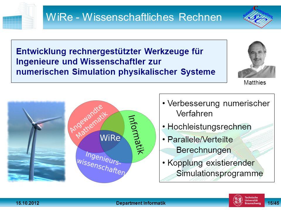 Department Informatik 15.10.2012 15/45 WiRe - Wissenschaftliches Rechnen Matthies Entwicklung rechnergestützter Werkzeuge für Ingenieure und Wissensch