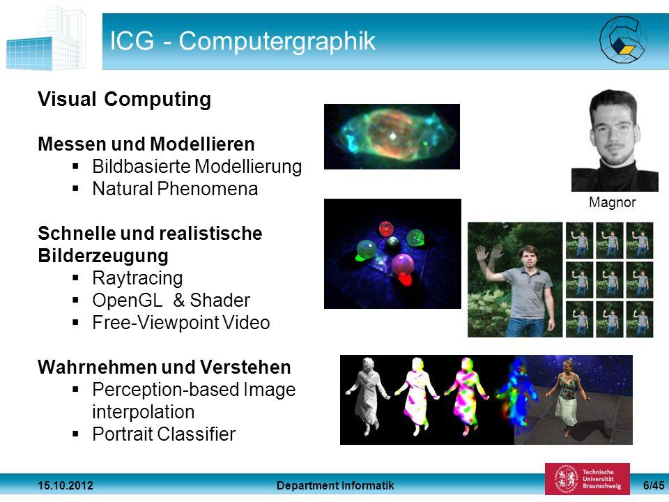 Department Informatik 15.10.2012 6/45 ICG - Computergraphik Visual Computing Messen und Modellieren Bildbasierte Modellierung Natural Phenomena Schnel
