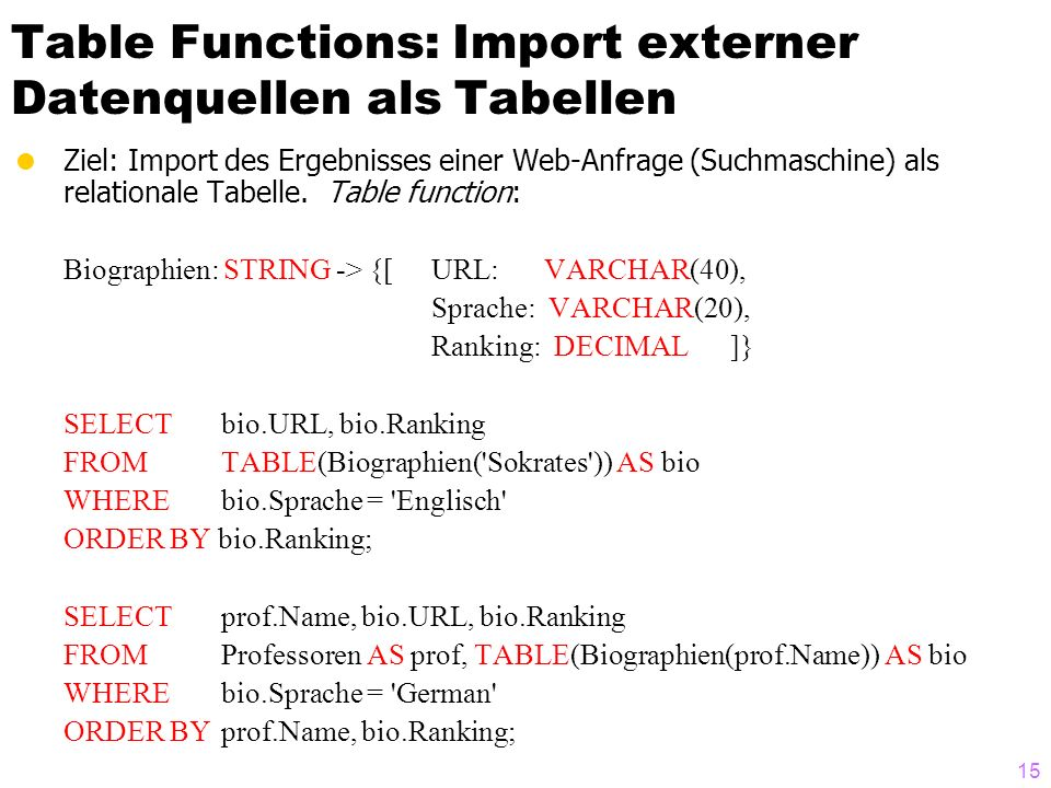 15 Table Functions: Import externer Datenquellen als Tabellen Ziel: Import des Ergebnisses einer Web-Anfrage (Suchmaschine) als relationale Tabelle. T
