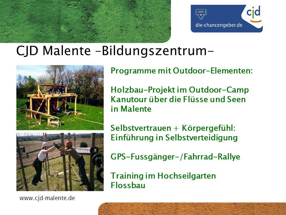 CJD-Musterstadt CJD Malente –Bildungszentrum- Programme mit Outdoor-Elementen: Holzbau-Projekt im Outdoor-Camp Kanutour über die Flüsse und Seen in Ma