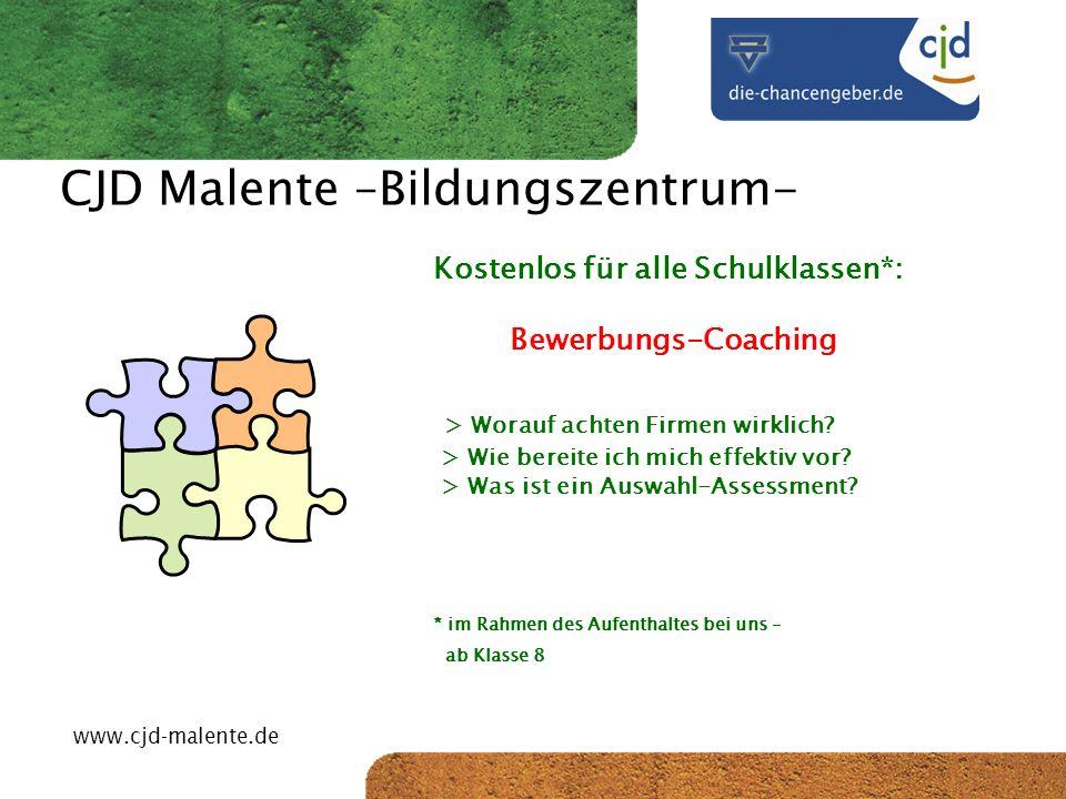 CJD-Musterstadt CJD Malente –Bildungszentrum- Preise 4 ÜN, Unterkunft + Vollverpflegung 1 Lehrer pro 12 Schüler frei p.Pers.