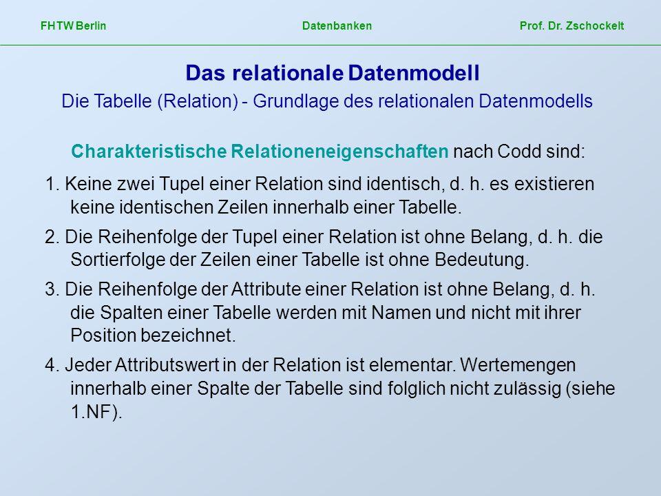 FHTW Berlin Datenbanken Prof. Dr. Zschockelt Das relationale Datenmodell Die Tabelle (Relation) - Grundlage des relationalen Datenmodells Charakterist