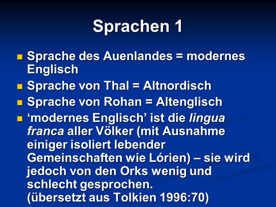 Sprachen 1 Sprache des Auenlandes = modernes Englisch Sprache des Auenlandes = modernes Englisch Sprache von Thal = Altnordisch Sprache von Thal = Alt