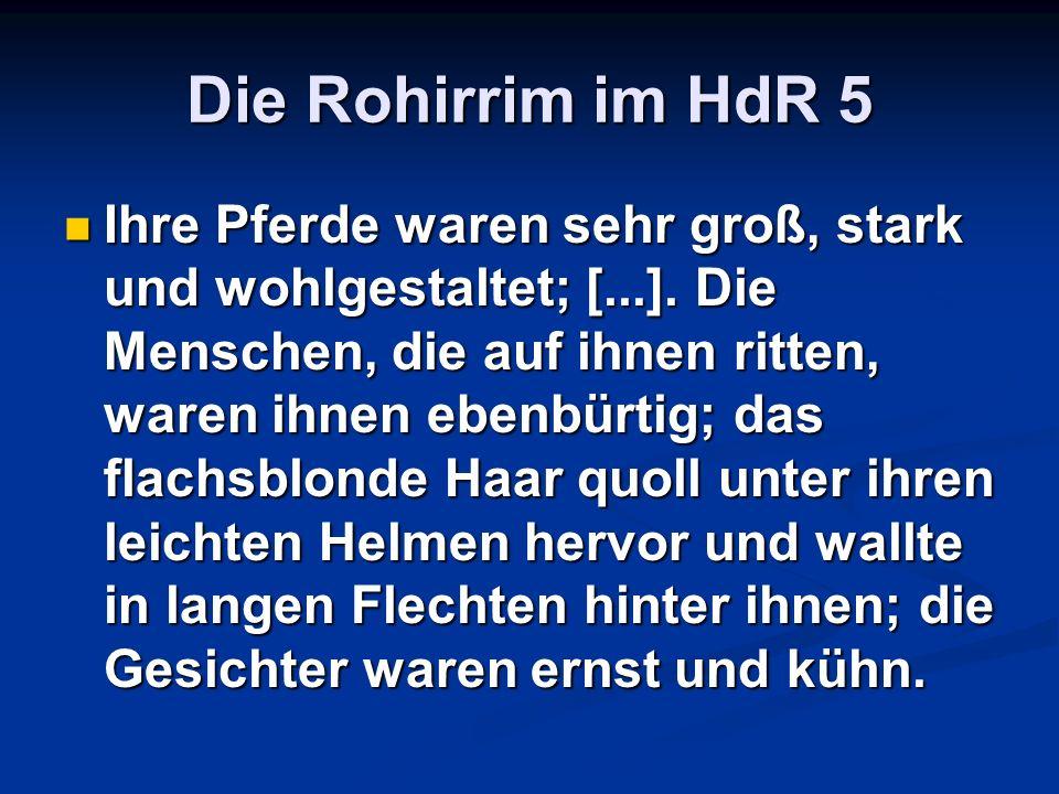 Die Rohirrim im HdR 5 Ihre Pferde waren sehr groß, stark und wohlgestaltet; [...]. Die Menschen, die auf ihnen ritten, waren ihnen ebenbürtig; das fla