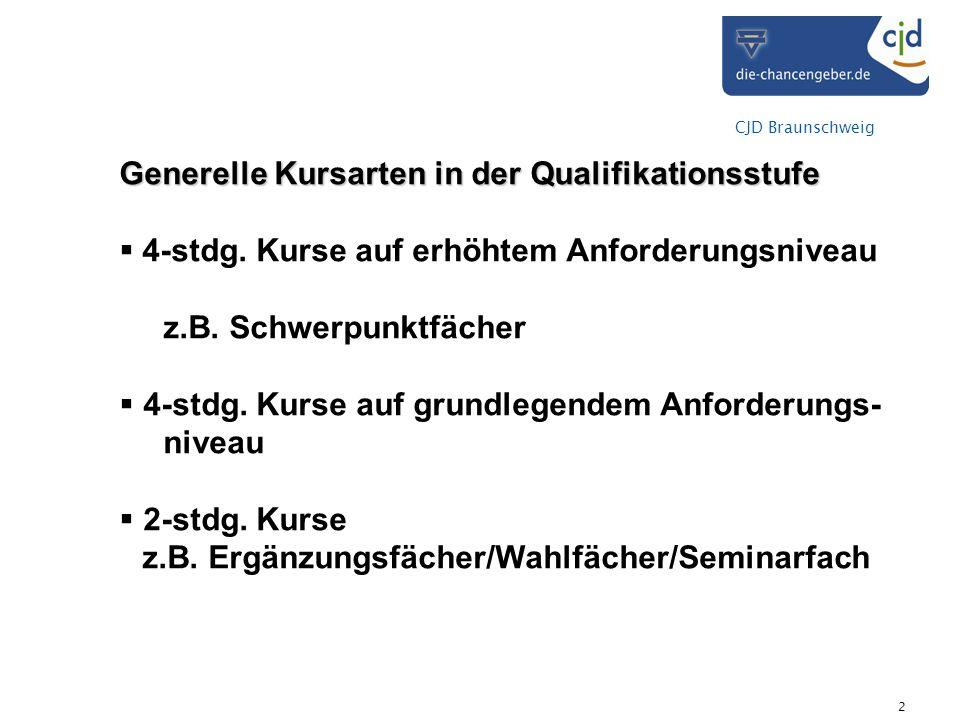 CJD Braunschweig 2 Generelle Kursarten in der Qualifikationsstufe 4-stdg. Kurse auf erhöhtem Anforderungsniveau z.B. Schwerpunktfächer 4-stdg. Kurse a
