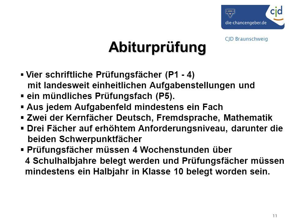 CJD Braunschweig 11 Abiturprüfung Vier schriftliche Prüfungsfächer (P1 - 4) mit landesweit einheitlichen Aufgabenstellungen und ein mündliches Prüfung