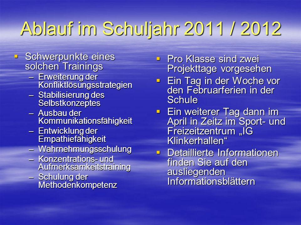 Ablauf im Schuljahr 2011 / 2012 Schwerpunkte eines solchen Trainings Schwerpunkte eines solchen Trainings –Erweiterung der Konfliktlösungsstrategien –