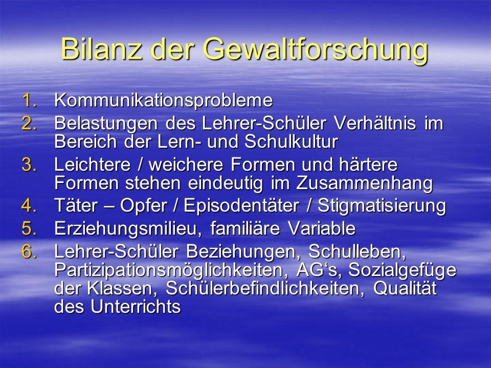 Bilanz der Gewaltforschung 1.Kommunikationsprobleme 2.Belastungen des Lehrer-Schüler Verhältnis im Bereich der Lern- und Schulkultur 3.Leichtere / wei