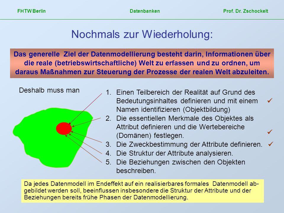 FHTW Berlin Datenbanken Prof. Dr. Zschockelt Nochmals zur Wiederholung: Das generelle Ziel der Datenmodellierung besteht darin, Informationen über die