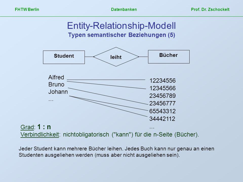 FHTW Berlin Datenbanken Prof. Dr. Zschockelt Entity-Relationship-Modell Typen semantischer Beziehungen (5) Grad: 1 : n Verbindlichkeit: nichtobligator